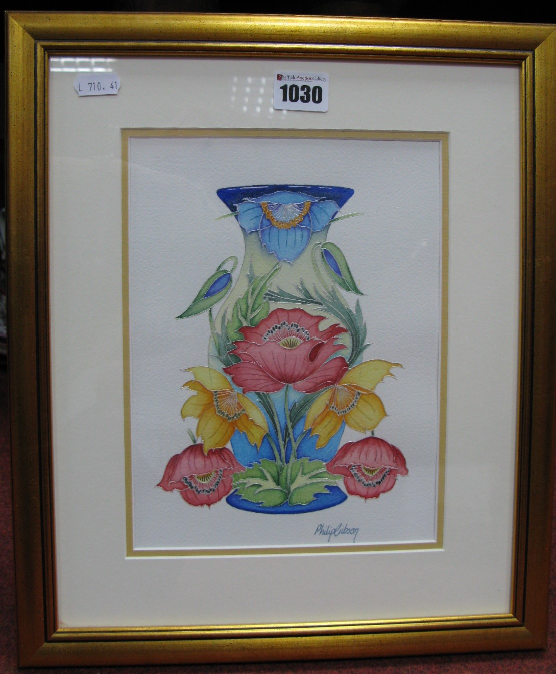 Lot 1030 - A Moorcroft Philip Gibson Original Tubelined Watercolour Foliate Study for Blue and Cream