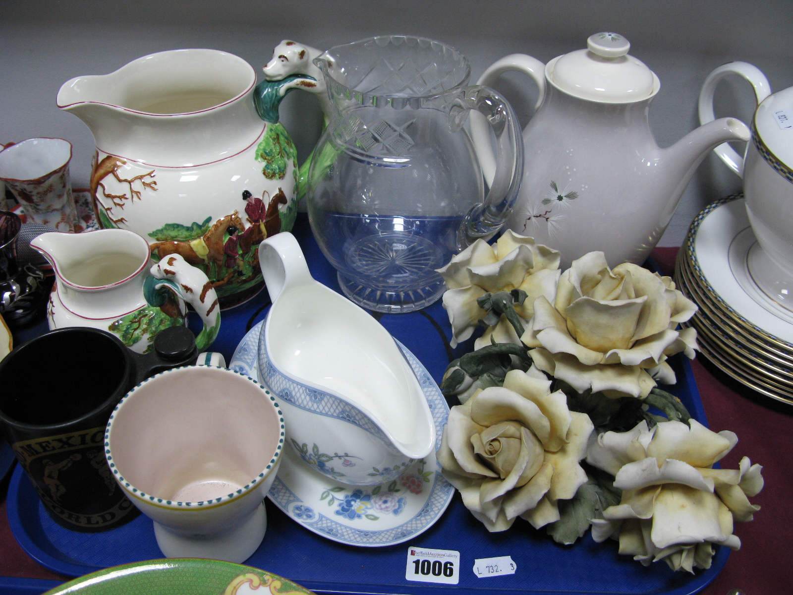 Lot 1006 - A Doulton 'Forrest Pine' Coffee Pot, Wedgwood 'John Peel' and glass jugs etc:- One Tray