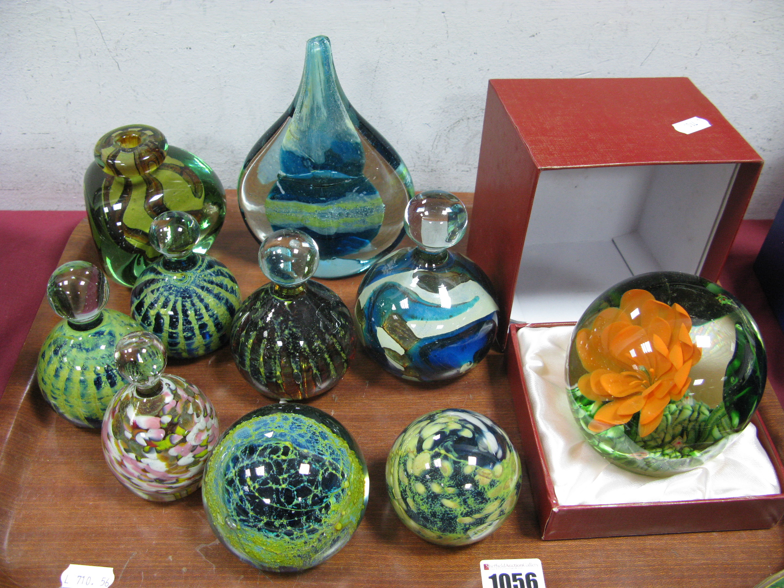 Lot 1056 - Glass Paperweights In The Mdina Style, to include teardrop, knopped, triangular examples (10):-