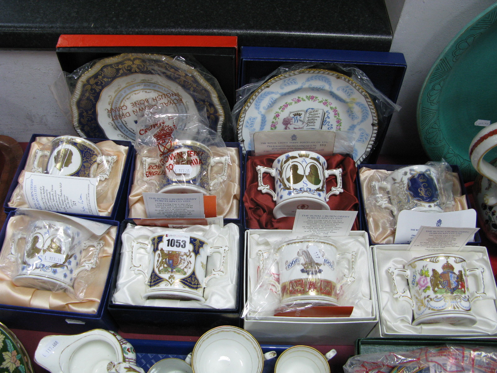Lot 1053 - Eight Royal Crown Derby Twin Handled Loving Cups, commemorating various Royal occasions, the