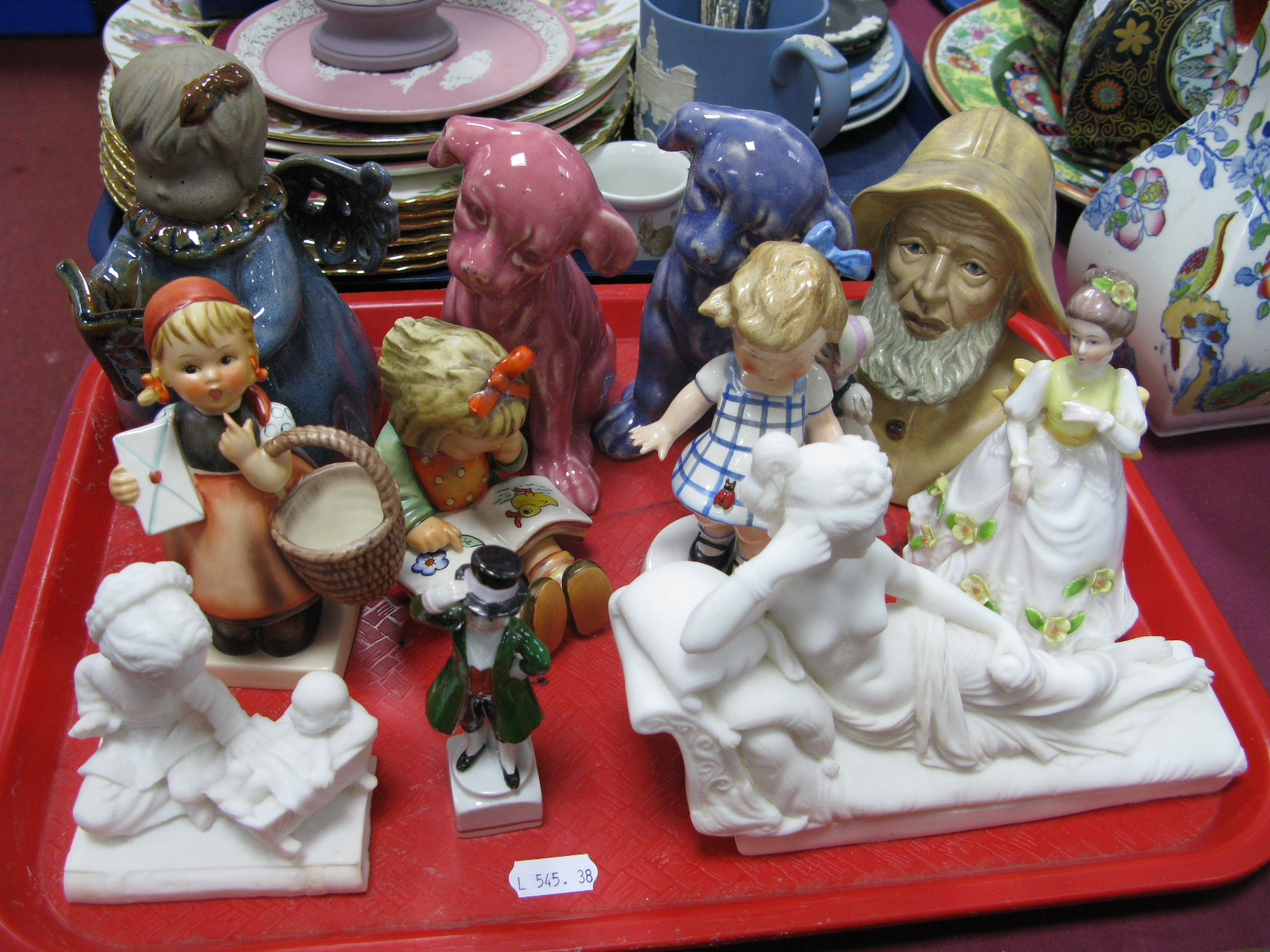Lot 1035 - Three Hummell Figures, Atlantic mould bust, other figurines:- One Tray