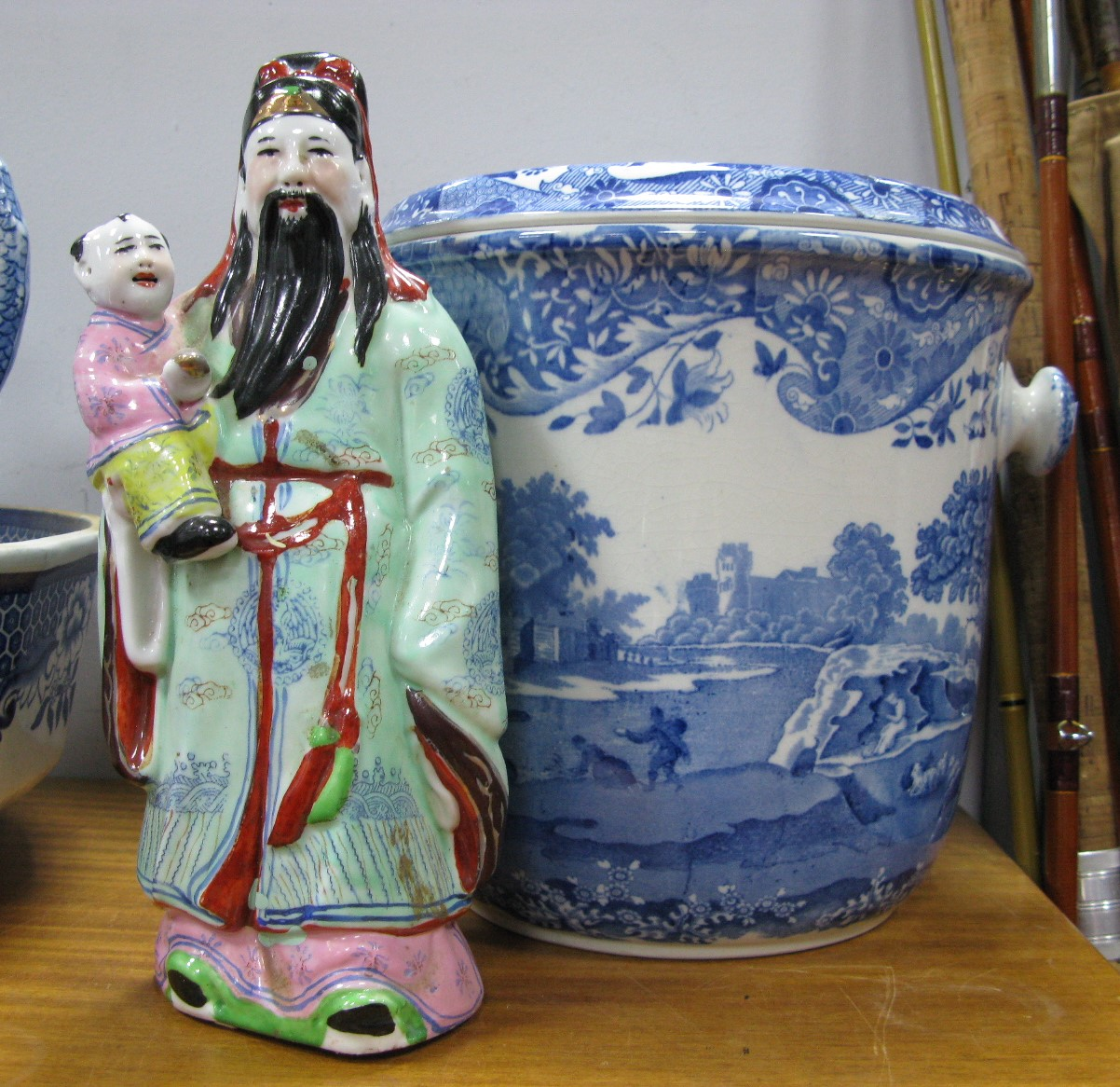 Lot 1001 - A Spode 'Italian' Pattern Slop Bucket and Cover, (lacking cane swing handle), and a Chinese model of