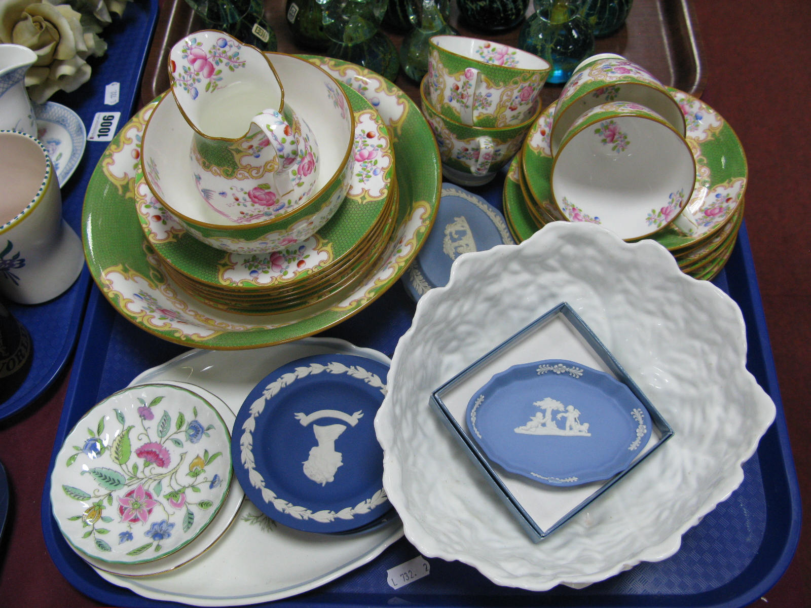 Lot 1010 - Minton Table Ware, Wedgwood, Jasper Ware, Coalport, cabbage bowl etc:- One Tray.