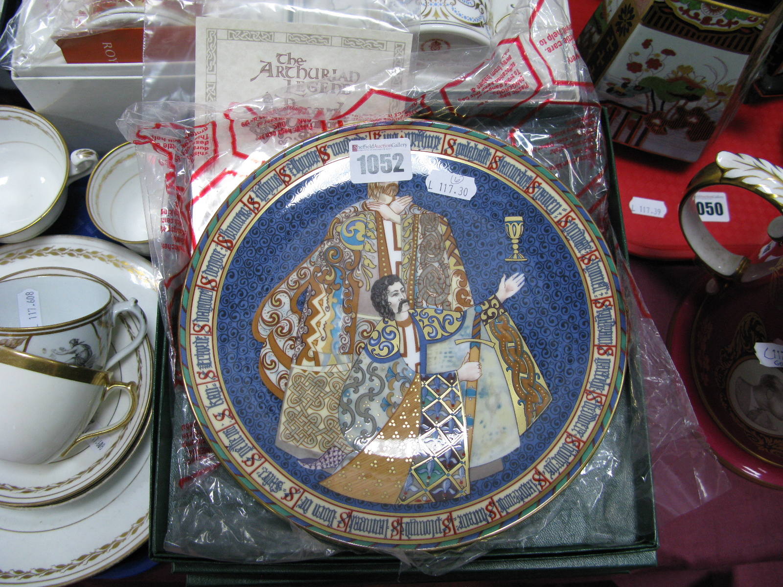 Lot 1052 - A Set of Six Minton China 'The Arthurian Legend' Plates, numbers 1-6 from the original paintings