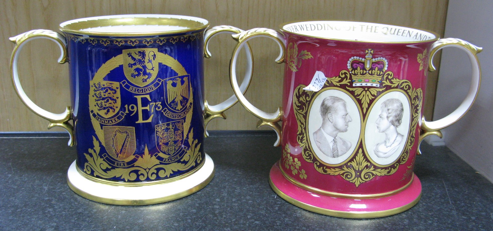 Lot 1051 - A Spode Porcelain Two Handled Loving Cup, to commemorate the Enlargement of the European Community