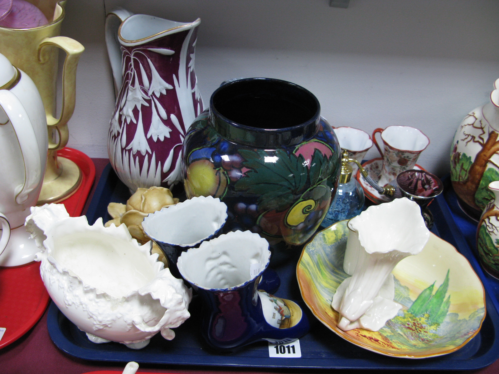 Lot 1011 - A Royal Worcester China Works Flowerhead Vase, Doulton Woodley Dale dish, Caithness atomiser,
