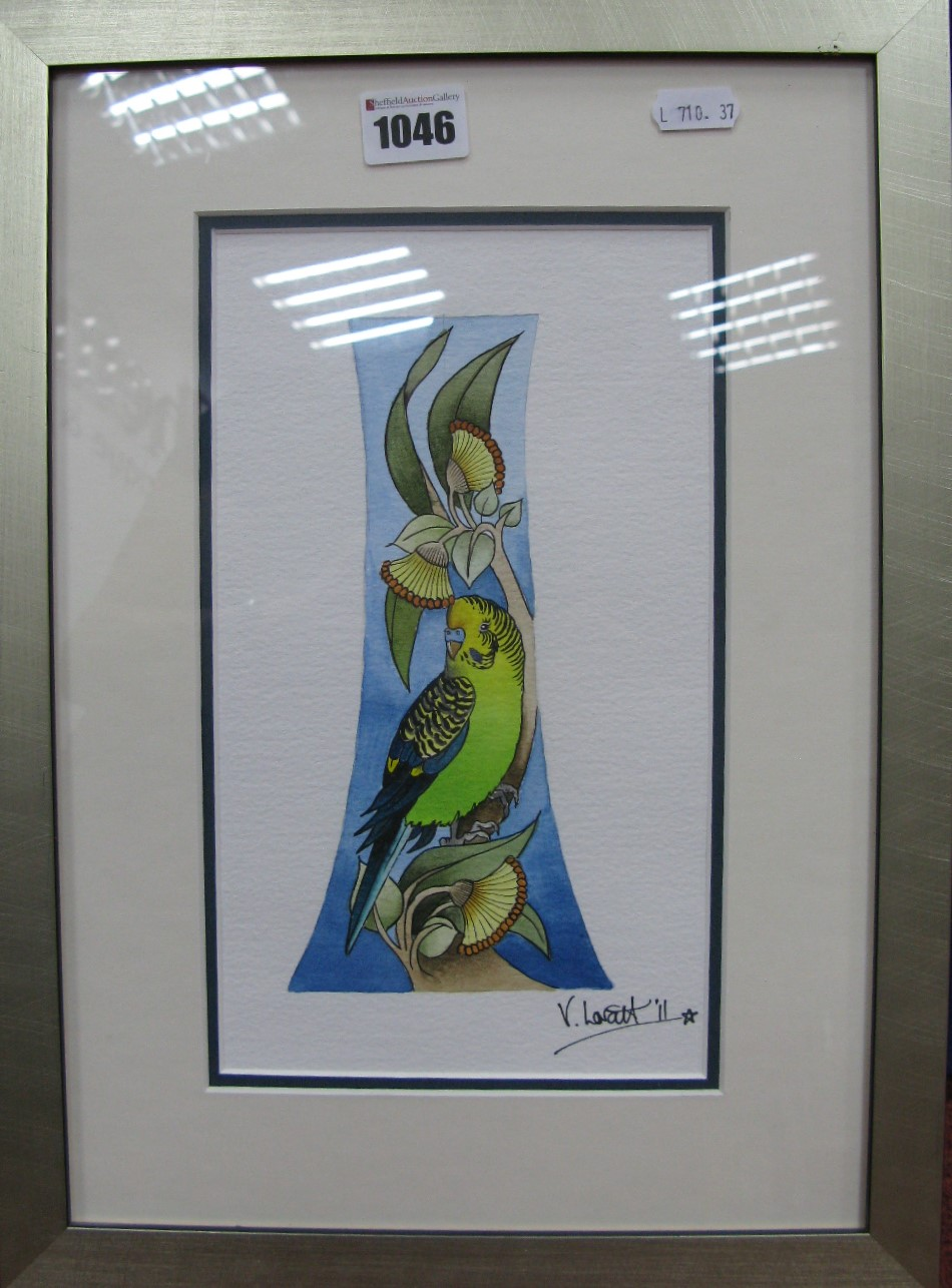 Lot 1046 - A Moorcroft Vicky Lovatt Original Watercolour of Budgerigar, 25 x 14.5cm, signed and dated '11.
