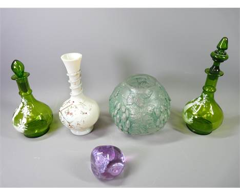 TWO MARY GREGORY STYLE LIDDED VASES, 27cms the tallest, opaque glass vase, Caithness paperweight and a Milk glass vase