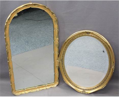 GILT FRAMED WALL MIRRORS (2) including an oval example with bevel edged glass, 60 x 48.5cms with an Italian style mirror, 83c