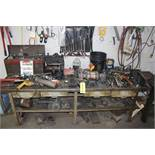 Workbench w/ Bench Vise, Double End Grinder, & Assorted Tools