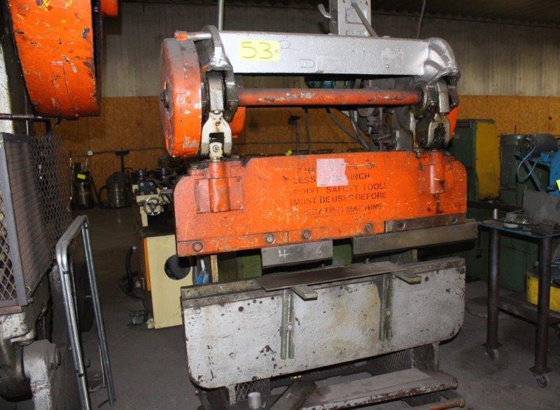 Lot 53 - Verson 6' Mechancial Press Brake, S/N NA