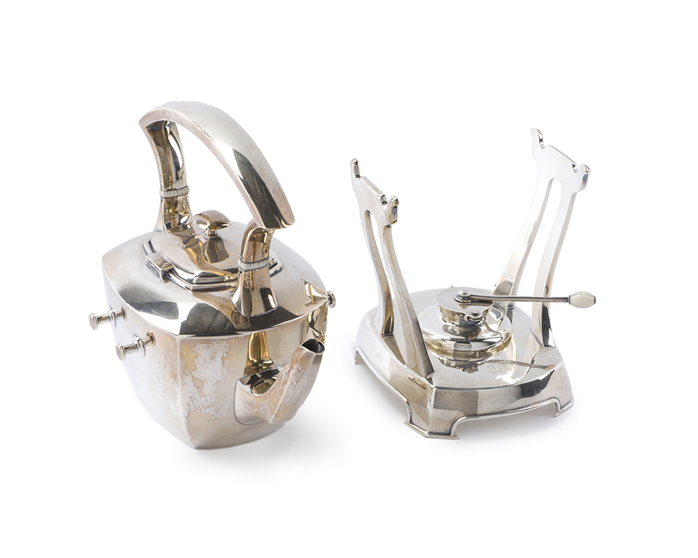 Lot 59 - A J.E. Caldwell sterling silver tipping kettle