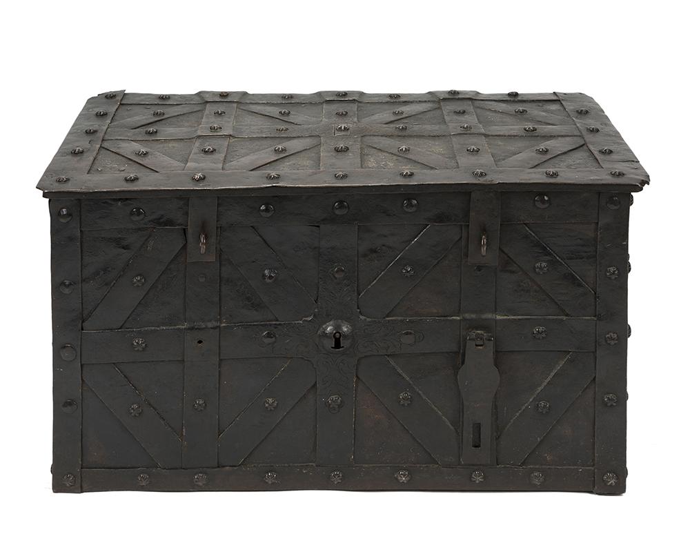 Lot 25 - An iron strongbox