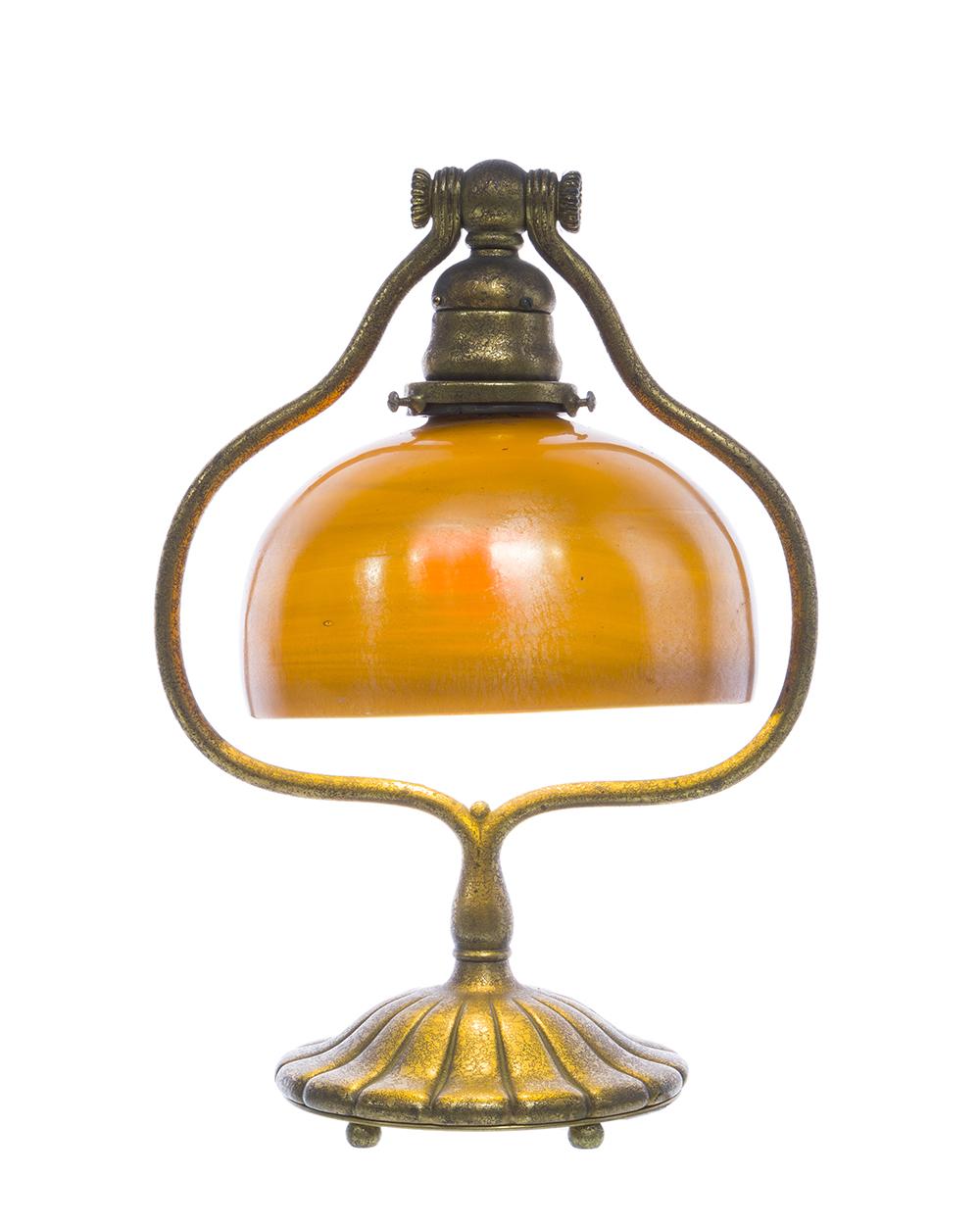 Lot 14 - A Tiffany Studios harp desk lamp with Favrile shade