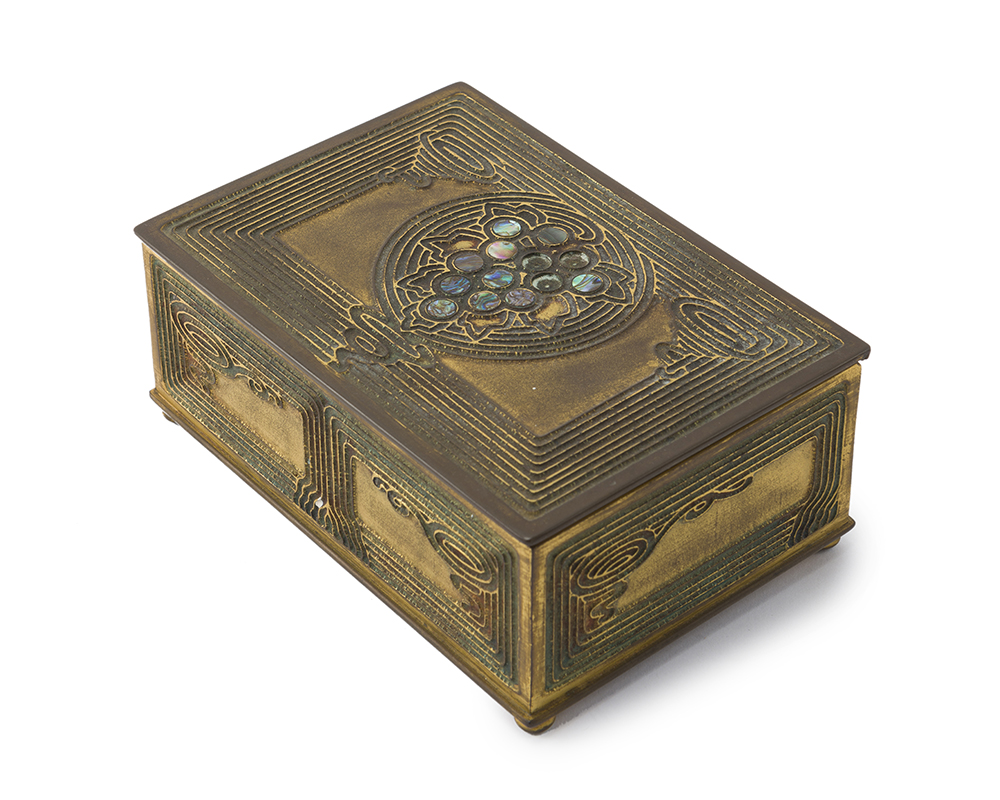 "Lot 16 - A Tiffany Studios ""Abalone"" cigar box, #1172"
