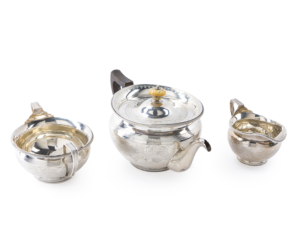 Lot 51 - A Scottish George III sterling silver tea service