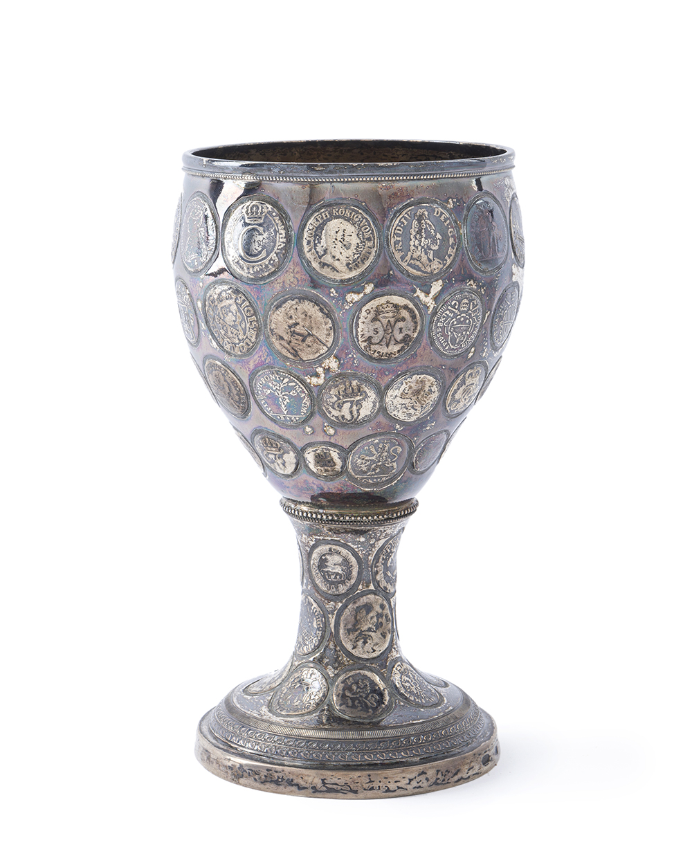 Lot 26 - A silver coin-set chalice