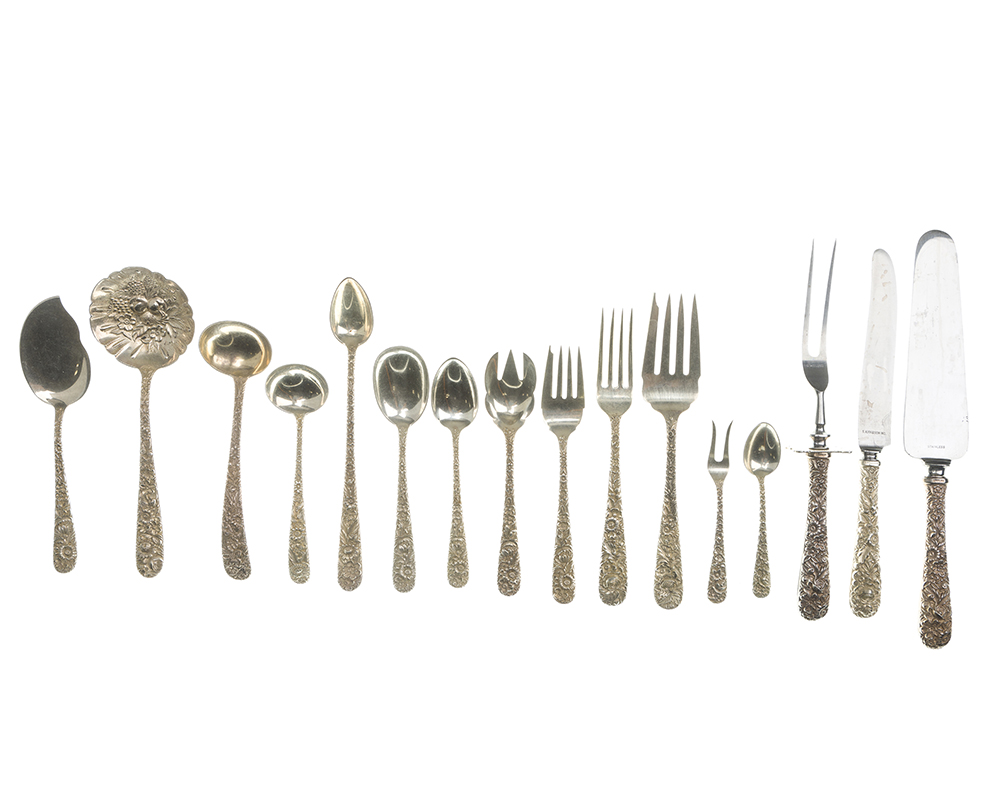 "Lot 60 - An S. Kirk & Son ""Repousse"" sterling silver flatware service"