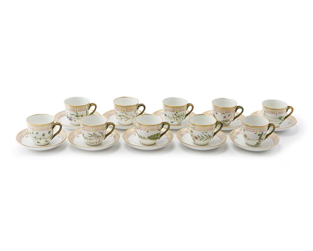 "Lot 9 - A set of Royal Copenhagen ""Flora Danica"" demitasse cups and saucers"