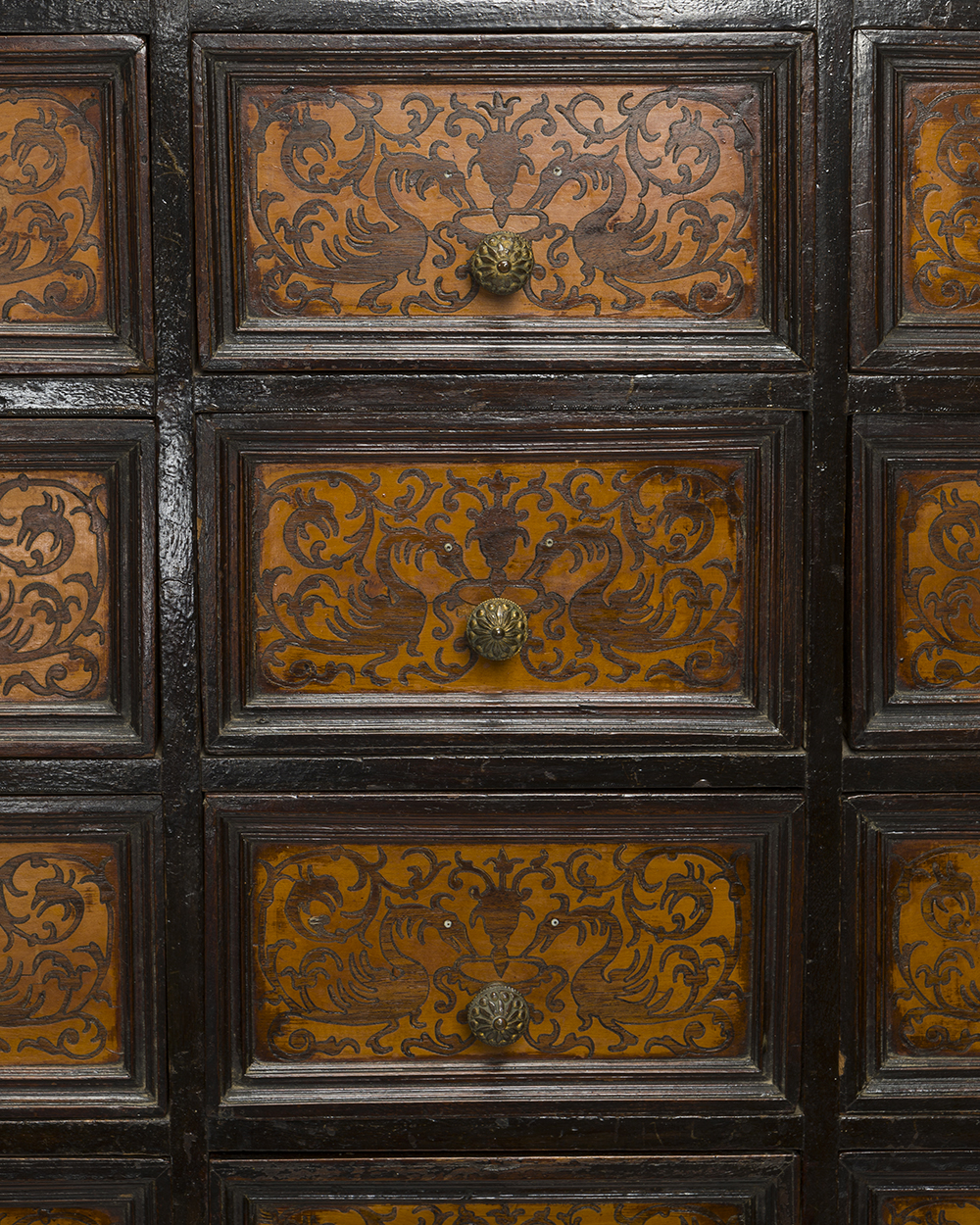 Lot 23 - A Spanish-style seaweed-inlaid vargueno on stand