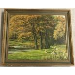 B.G Cook signed Autumnal oil painting with grazing sheep in foreground.
