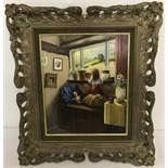 "Peter Kotka signed original oil on panel entitled ""A Girl at a Window"" in ornate gilt frame."