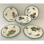 "A Victorian Powell & Bishop ""Trentham"" pattern footed cake stand together with 4 matching plates."