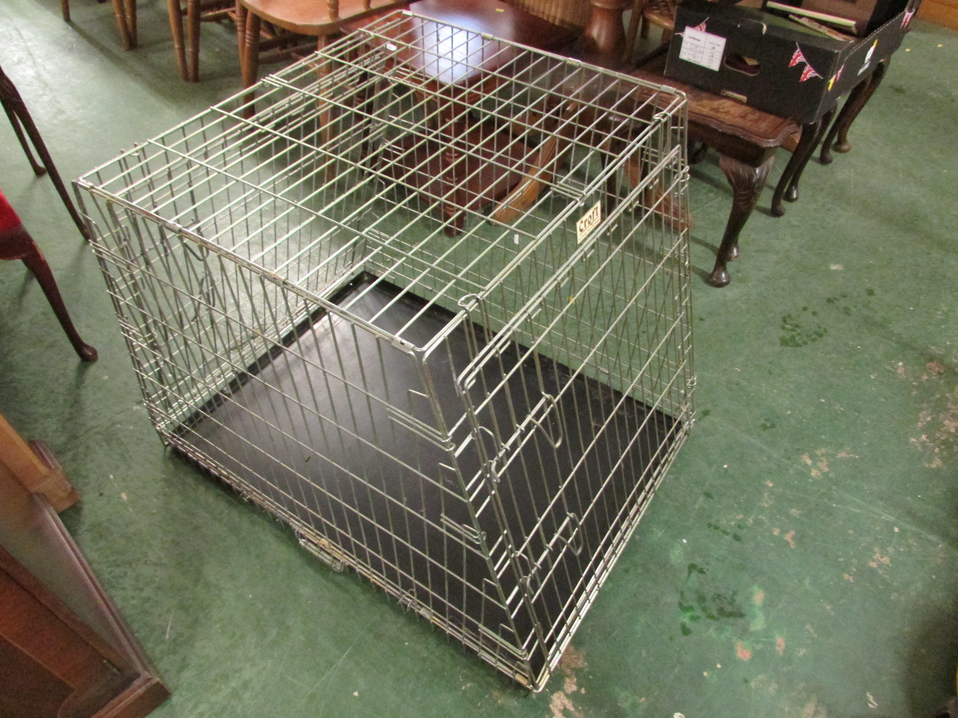 Lot 61 - FOLDING WIRE FRAMED DOG CAGE