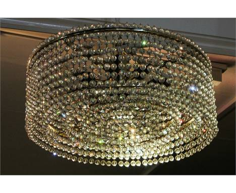 A J & L Lobmeyr heavy brass and glass electrolier with lights and five tiers of circular facet cut ball drops, 45cm diameter