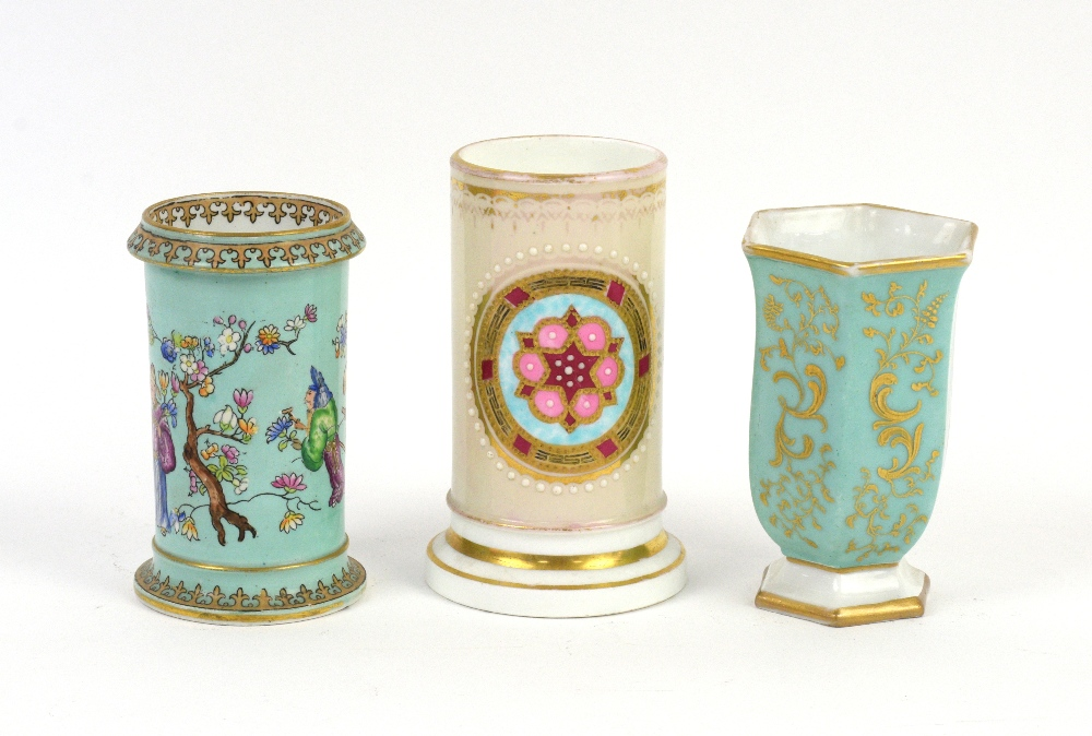 Lot 3026 - A 19th century spill vase with a central cartouche decorated with a stylised rose (12cm) and five