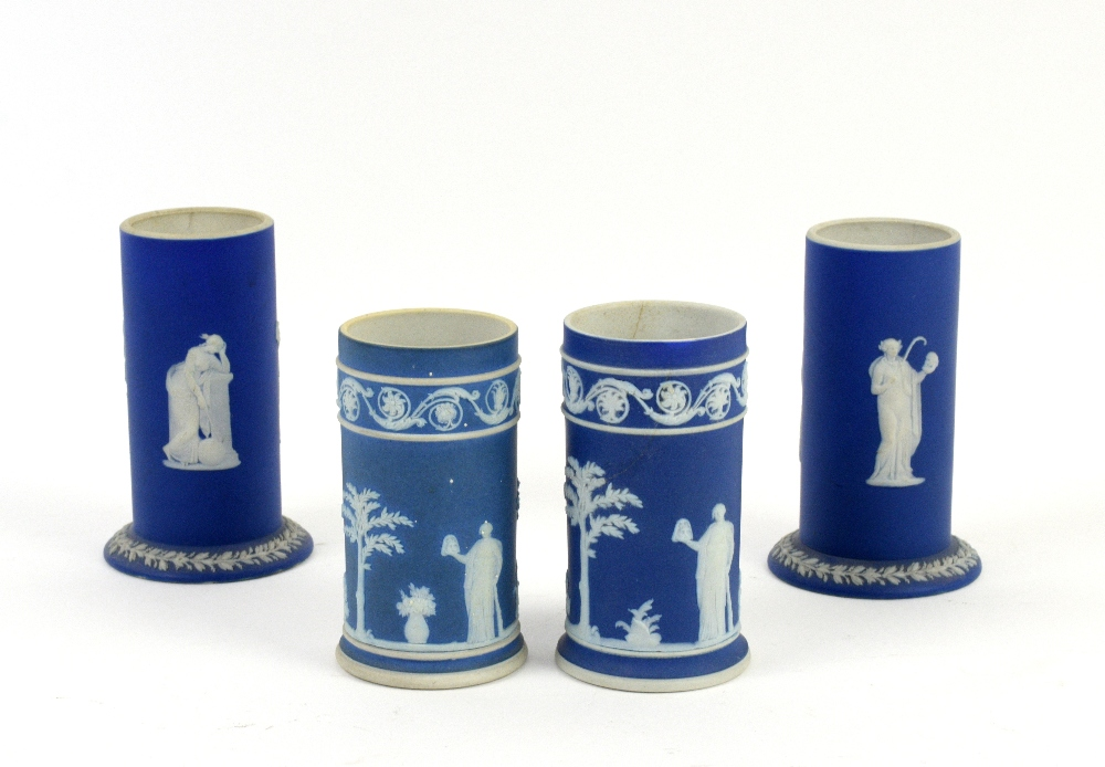 Lot 3015 - 19th century Wedgewood jasperware spill vases (19cm) and 7 other similar. (8)Provenance part of a