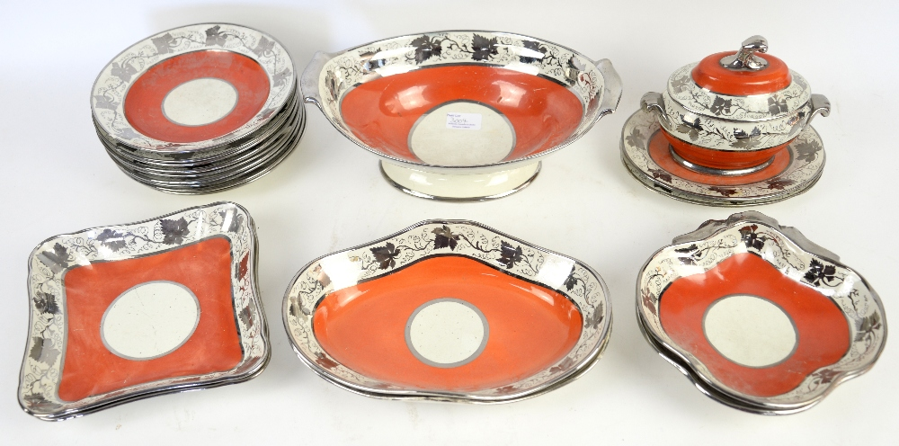 Lot 3004 - Early 19th century Staffordshire part service, with red borders highlighted in gilt; tureen, two