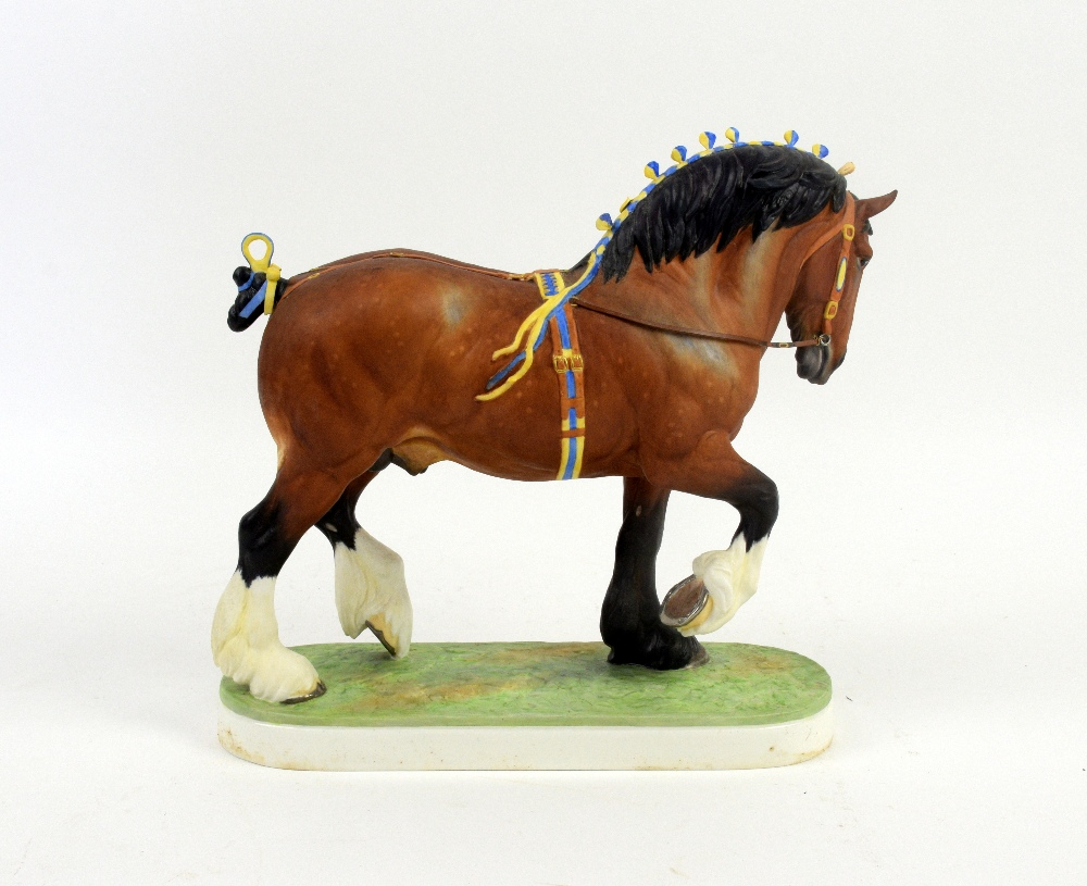 Lot 3009 - Royal Worcester limited edition figure of a Shire Stallion, modelled by Doris Lindner, 26cm high, in