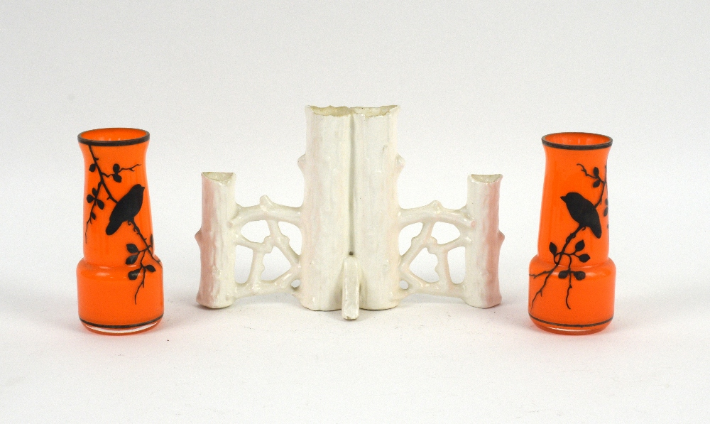 Lot 3031 - Pair of orange glass spill vases decorated with perching birds (11cm) with 27 others. Provenance