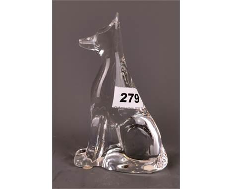A Baccarat crystal dog figure, H. 16cm.