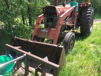 Lot 30 - MF 1080 tractor, Dsl, rubber 18.4x34 (good) w/bale fork