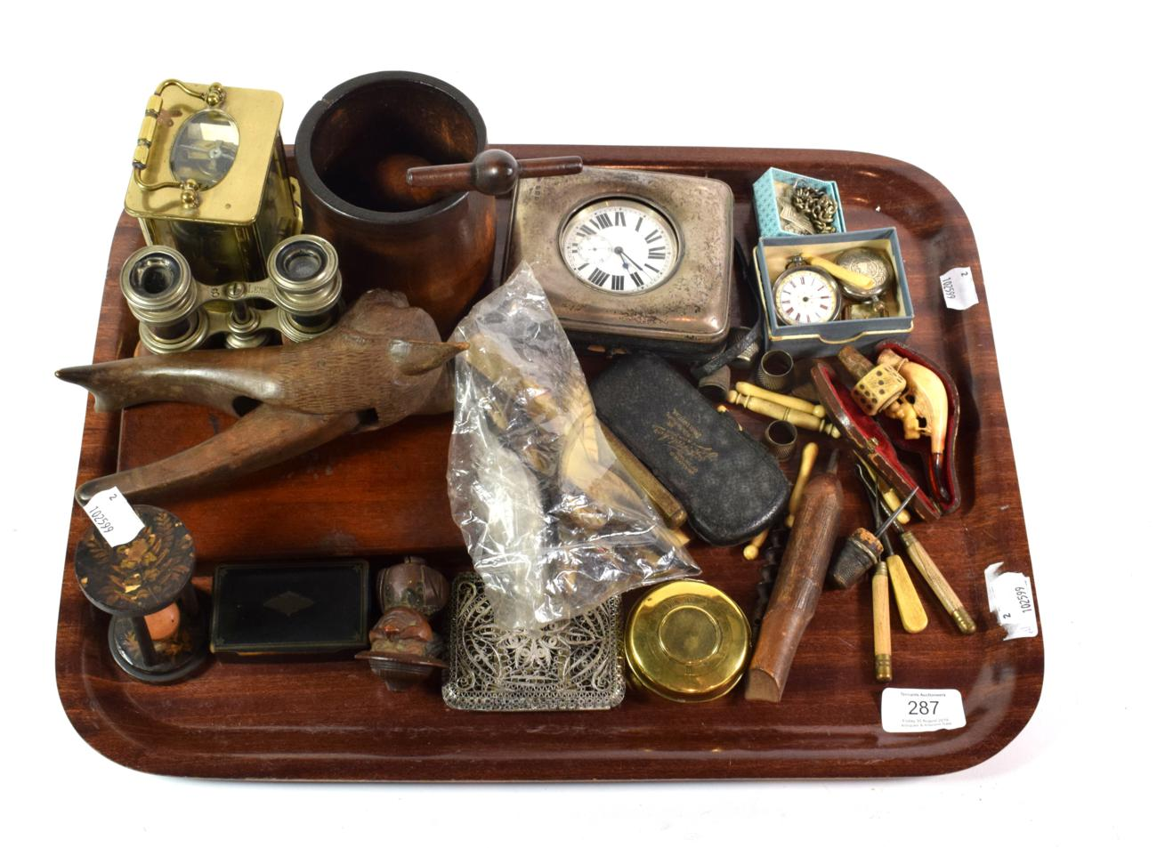 Lot 287 - Assorted collectables including carriage clock, silver case for pocket watch, nut crackers, opera