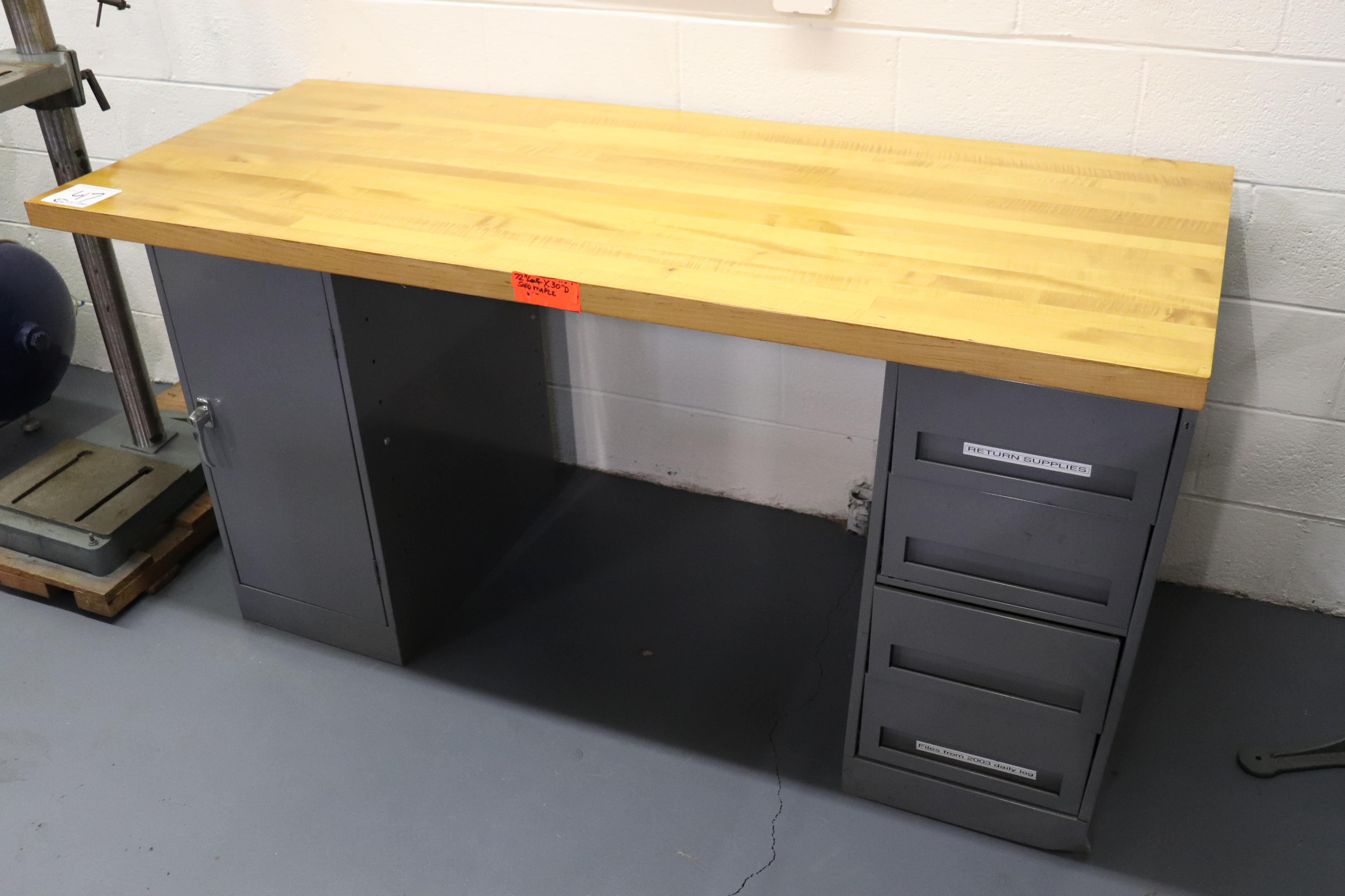 Butcher block work bench w/ cabinets