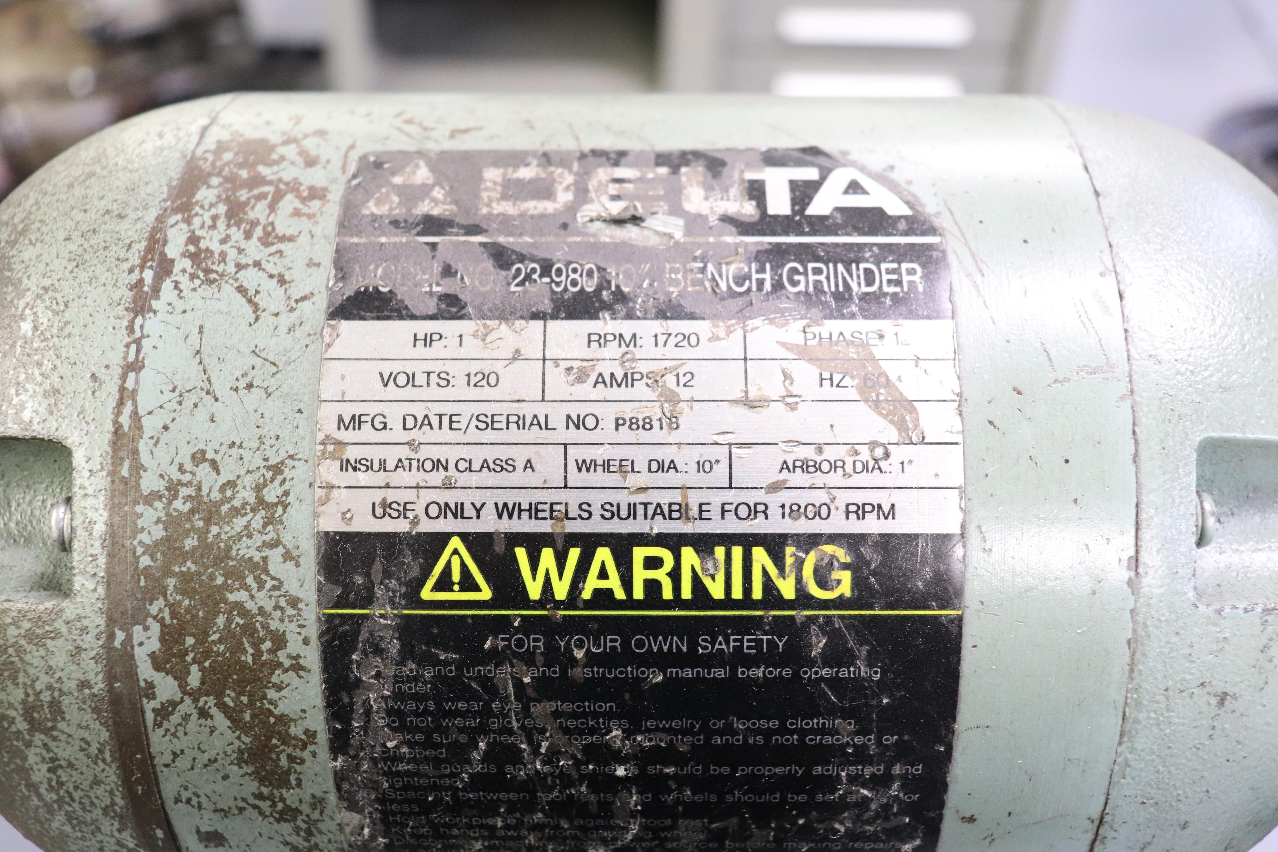 """Delta 23-980 10"""" bench grinder - Image 3 of 3"""