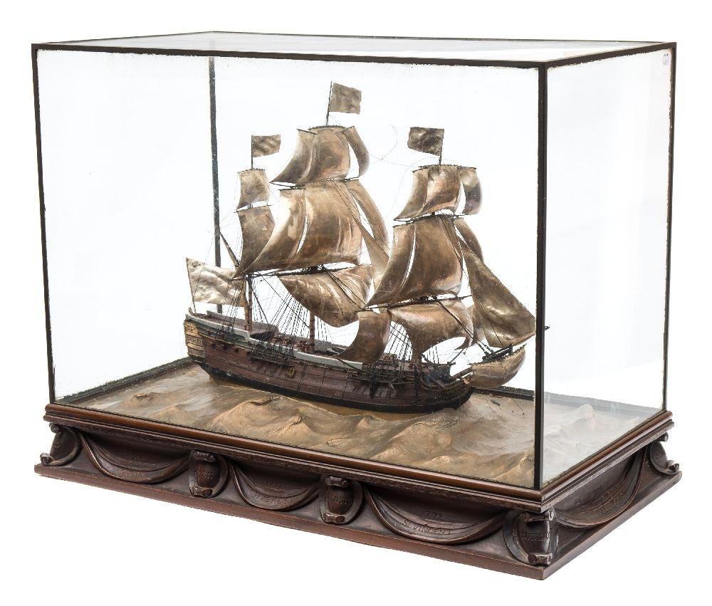 A good early 20th century waterline model of HMS Victory in her first commission 1780, - Image 2 of 18