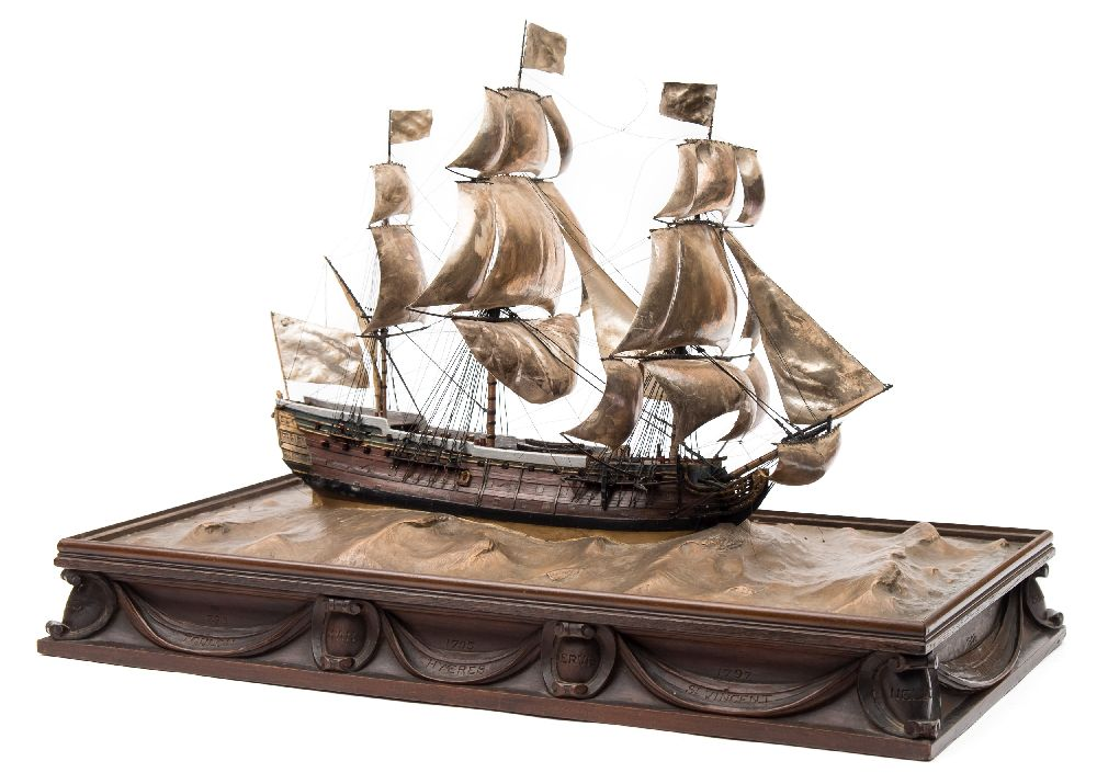 A good early 20th century waterline model of HMS Victory in her first commission 1780, - Image 3 of 18