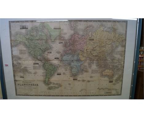 WORLD MAP: Perrot (A M): 'Nouveau Planisphere Terrestre..', Paris, 1864: large steel engraved map with topographical vignette