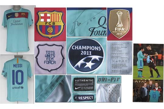 buy popular 9cc81 40400 Lionel Messi match worn ChampionsLeague shirt - Original ...