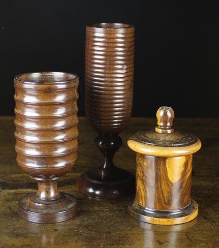 Lot 15 - Three Pieces of Turned Lignum Vitae: A Good Late 19th Century Counter-top String Box of cylindrical