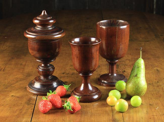 Lot 13 - Three Pieces of Treen: A Fine Late 18th /Early 19th Century Mahogany Covered Spice Goblet;