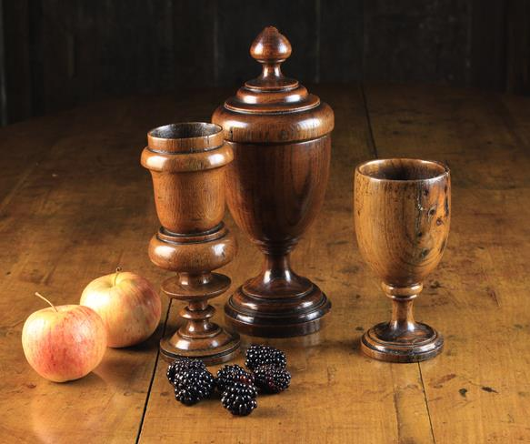 Lot 14 - Three Pieces of Treen: A Late 18th /Early 19th Century Oak Spice Cup and Cover;