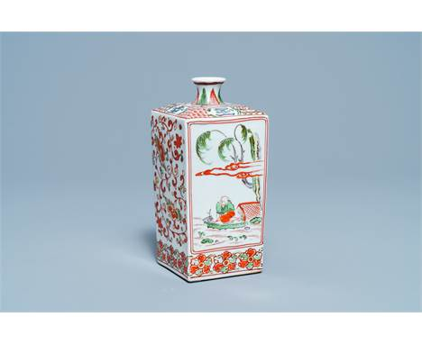 Full title:  A square Japanese Ko-Imari sake flask, Edo, 18th C.Description: H.: 19 cm Please contact us to let us know which