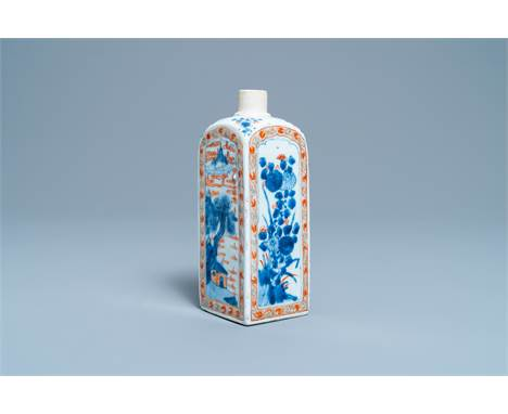 Full title:  A square Chinese verte-Imari flask with floral and landscape panels, KangxiDescription: H.: 20,5 cmPlease contac