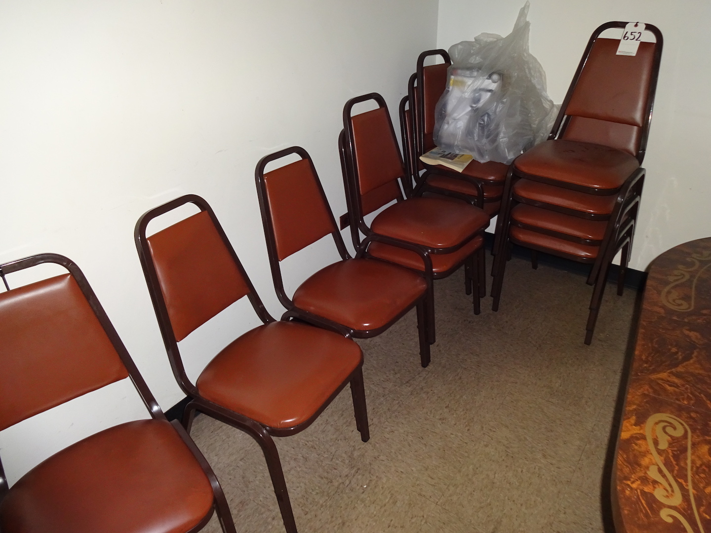 Lot 652 - LOT: (2) Lunch Tables, (12) Stack Chairs