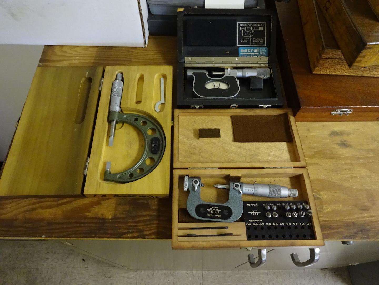 Lot 470 - LOT: Mahr No. 40SF Indicating Micrometer, Tesa Micrometer & Mitutoyo 1-2 in Micrometer